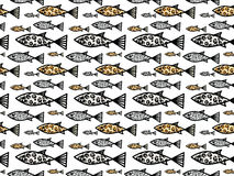 Seamless pattern with wild life colored fishes Royalty Free Stock Image