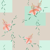 Seamless pattern of wild orange flowers and green branches on a light beige background with geometric figures. Watercolor. Spring flowers of can be used Stock Photos