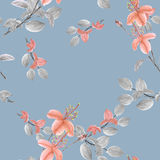Seamless pattern of wild orange flowers and branches on a blue-gray background with geometric figures. Watercolor. Spring flowers of can be used textiles Royalty Free Stock Photography