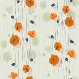 Seamless pattern of orange and green flowers of poppies on a light green background. Watercolor. Seamless pattern of wild orange and green flowers of poppies on Stock Photo