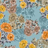 Seamless pattern of orange, yellow, beige flowers of peonies on a turquoise background. Floral background. Watercolor. Seamless pattern of wild orange, yellow Royalty Free Stock Photos