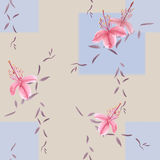 Seamless pattern of wild pink flowers and branches on a beige background with blue geometric figures with blurring. Watercolor. Spring flowers of can be used vector illustration