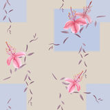 Seamless pattern of wild pink flowers and branches on a beige background with blue geometric figures with blurring. Watercolor. Spring flowers of can be used royalty free illustration