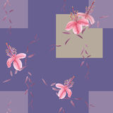 Seamless pattern of wild pink flowers and branches on a deep violet background with geometric figures. Watercolor. Spring flowers of can be used textiles Royalty Free Stock Photos