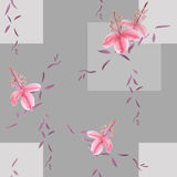 Seamless pattern of wild pink flowers and branches on a gray background with geometric figures. Watercolor. Spring flowers of can be used textiles, wallpaper vector illustration