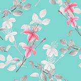 Seamless pattern of wild pink flowers and gray branches on a turquoise background. Watercolor Stock Photo