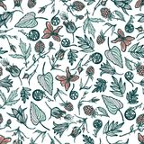 Seamless pattern with wild plants berries flowers. Botanical background. Cloudberry violet Geum Rivale ferns bluebells. Spring the. Me. Hand drawn. Vector Stock Photos