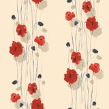 Seamless pattern of red and beige flowers of poppies on a light beige background. Watercolor. Seamless pattern of wild red and beige flowers of poppies on a Stock Image