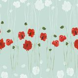 Seamless pattern of red and gray flowers of poppies with green stems on a green background. Watercolor. Seamless pattern of wild red and gray flowers of poppies Stock Image