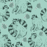 Seamless pattern with wild Ring-tailed lemur Royalty Free Stock Images