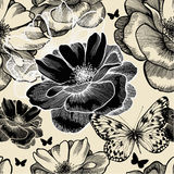 Seamless pattern with wild roses and butterflies Stock Image