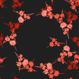 Seamless pattern of wild small red flowers with floral red wreath on a black background. Watercolor Royalty Free Stock Photos
