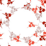 Seamless pattern of wild small red flowers with floral beige wreath on a white background. Watercolor Royalty Free Stock Photos