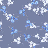 Seamless pattern of wild small white and blue flowers and bouquets on a dark gray background. Watercolor. Stock Images