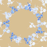 Seamless pattern of wild small white flowers with floral blue wreath on a beige background. Watercolor Royalty Free Stock Photo