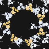 Seamless pattern of wild small white flowers with floral yellow wreath on a black background. Watercolor Stock Images