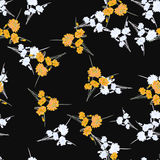 Seamless pattern of wild small white and yellow flowers and bouquets on the black background. Watercolor. Stock Photo