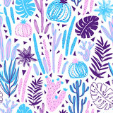 Seamless pattern with wild tropical rainforest. Tropic vector repeating background. Stock Photo