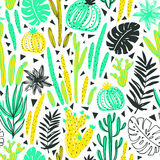 Seamless pattern with wild tropical rainforest. Tropic vector repeating background. Royalty Free Stock Photo