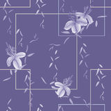 Seamless pattern of wild violet flowers and leaves on a deep violet background with geometric figures. Watercolor - 1. Seamless pattern of wild violet flowers Royalty Free Stock Photo
