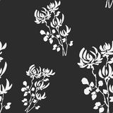 Seamless pattern wild white flowers on the black background. Watercolor. Stock Photo