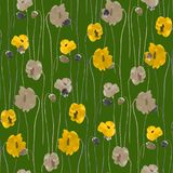 Seamless pattern of yellow and beige flowers on a deep green background. Watercolor Stock Photos