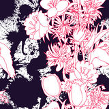 Seamless pattern. With wildflowers and blots Stock Images