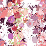 Seamless pattern. With wildflowers and blots Royalty Free Stock Image