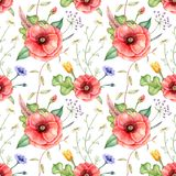 Seamless pattern with wildflowers. Hand drawn watercolor illustration. Vector Illustration