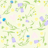 Seamless pattern of wildflowers and pink hearts. vector illustration Stock Photos