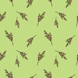 Seamless pattern with willow branches. Nature background concept. Stock Photos