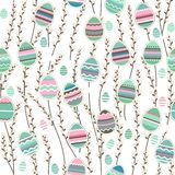Seamless pattern with willow and painted eggs Royalty Free Stock Image