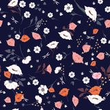 Seamless Pattern wind blow blooming flowers. Royalty Free Stock Images