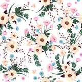 Seamless Pattern wind blow blooming flowers, Royalty Free Stock Photo