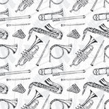 Seamless Pattern With Wind Musical Instruments Stock Photo