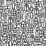 Seamless pattern of windows. Trace doodle. Black and white vecto Stock Image