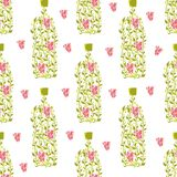 Seamless pattern with wine bottle from grape leaves berries Royalty Free Stock Image