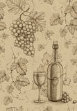 Seamless pattern. Wine bottle and grape. Seamless pattern with pencil drawing of wine bottle and grape Royalty Free Stock Photography