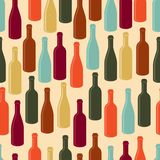 Seamless pattern with wine bottles Stock Photography