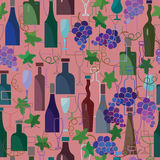 Seamless pattern of wine bottles, goblets and vine Stock Photo