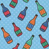 Seamless pattern with wine bottles on polka dot background. Vector EPS10 vector illustration