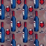 Seamless pattern with wine bottles and wine glasses Stock Photos