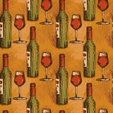 Seamless pattern with wine bottles and wine glasses Stock Image
