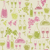 Seamless pattern with wine elements. stock illustration