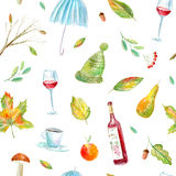 Seamless pattern of a wine, floral, umbrella, rowan ,coffee, apple and pear. Autumn picture.Watercolor hand drawn illustration.White background Stock Images