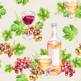 Seamless pattern. Wine glass, bottle, vine leaves, grape berries. Watercolor Stock Image