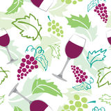 Seamless pattern - wine glass, grapes. Vector seamless pattern of wineglass and grapes Stock Image