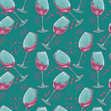 Seamless pattern with wine glasses Stock Photo