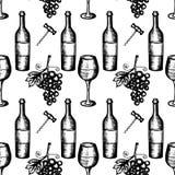 Seamless pattern of wine set Royalty Free Stock Image
