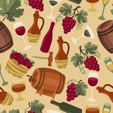 Seamless pattern for wine, wineries and Stock Images